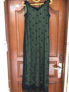 Gaun dress hijau hitam