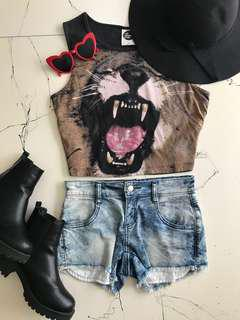 Denim shorts, lion crop top and Hat