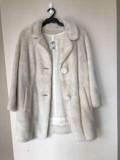 Long Off White Cream Teddy Bear Jacket