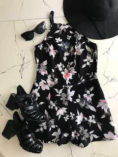 Black Floral Playsuit, Black Jelly Shoes and Hat