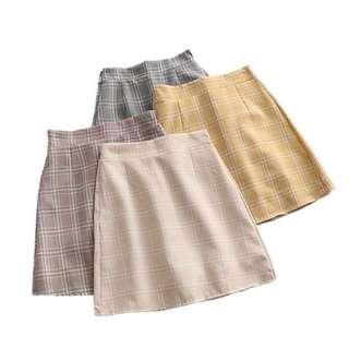 beige checkered aline highwaist skirt