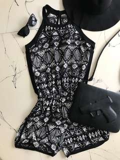 Black Pattern Playsuit with Hat
