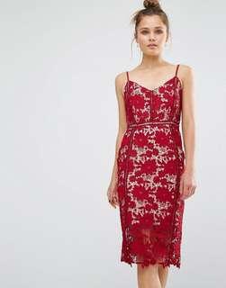 New Look Red Crochet Midi Dress