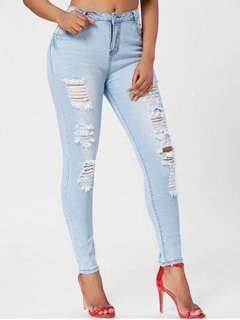 Highwaist Acid Washed Ripped Jeans