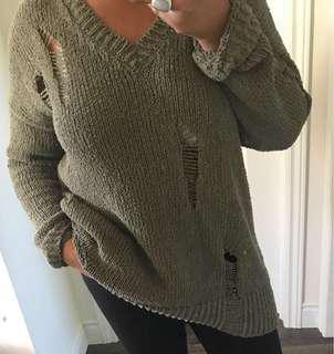Zara super distressed V-neck sweater