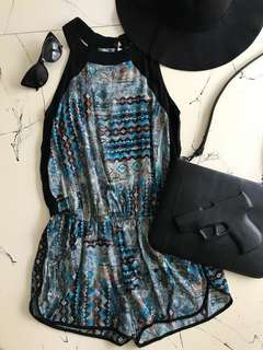 Black and Blue Pattern Playsuit & Hat