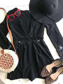 Black Low V Neck Lace Playsuit