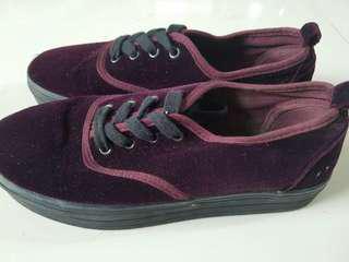 H&M Maroon Velvet Platform Shoes