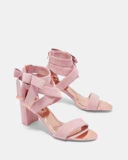 正貨 Ted Baker NOXEN2 Suede bow detail strappy sandals 真皮高跟涼鞋