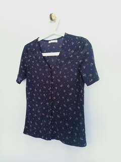 Blouse Navy Blue Flowery