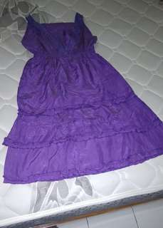 Dress midi ruffle purple