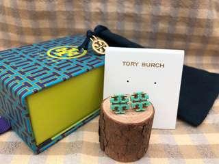 Tory Burch Baby Blue Logo Stud Earrings