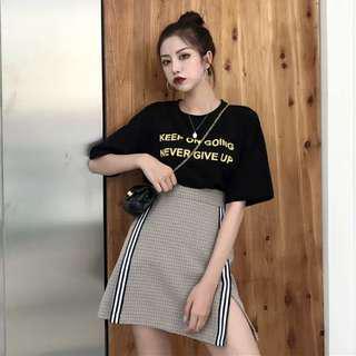 Uzzlang Checkered Jersey Strip Double Slit Skirt