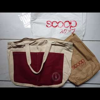 Tas Scoop Besar Putih White Handbag ToteBag Original