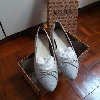 全新日本Jelly Beans平底鞋 灰色絨面 23.5 #噢賣鞋