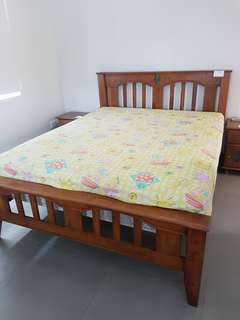 Pine Country Style Queen Size bed with 2 side drawers