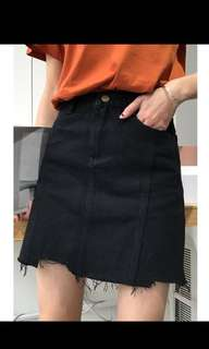 BNWT Distressed Denim Black Skirt