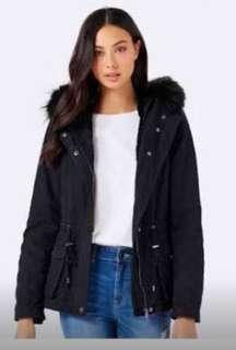 Forever new black fur parka jacket / coat