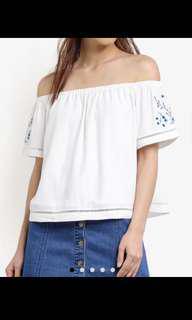Embroidered Floral White Off Shoulder Top