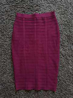 MDS WINE RED FITTED SKIRT S