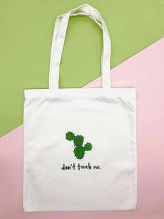 White Canvas Graphic Tote Bag (Don't Touch Me)