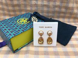 Tory Burch Gold Faux-Pearl Clear Crystal Drop Earrings