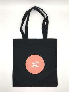 Black Canvas Graphic Tote Bag (Island)