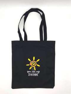 Black Canvas Graphic Tote Bag (Sunshine)
