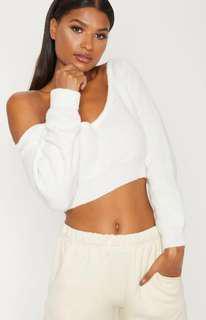 Cream off shoulder Knitted Crop jumper