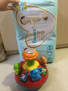 Pampers ichiban M碼拉拉褲+v tech 9成新玩具