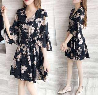 BN Floral Chiffon Dress with Bell-Sleeves