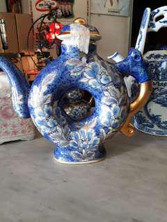 Tea pot gold trimmings unique shape