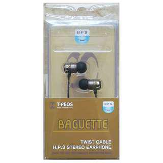 T-peos Baguette H.P.S Stereo Earphone with Twist cable and Microphone Made in Korea