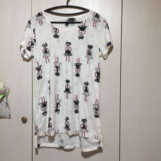 🚚 棉麻 貓咪圖案 短袖白色長版上衣