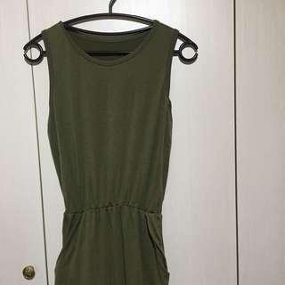 🚚 亞麻綠無袖縮腰棉質洋裝文青