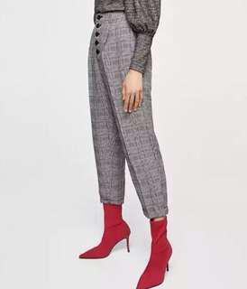 Brand New Plaid print high waist crop pants