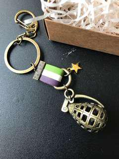 Paris *Le Bonheun Handmade Leather Strap and Grenade Key Chain