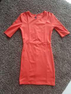 3 For $12 FOREIGN EXCHANGE Bright Red/Orange Mini Dress