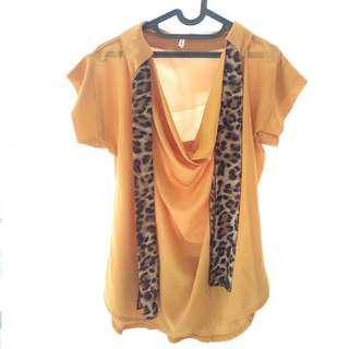 Yellow Orange Blouse Blous Blus T - Shirt Baju Kain Kuning Orange Leopard Motif Macan Tutul