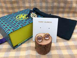 Tory Burch Coin Crystal Stud Earrings