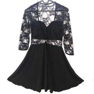 Black Lace Longsleeve Casual Party Dress / Baju Gaun Lengan Panjang Hitam Renda Pesta Long Short