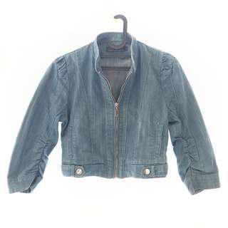 Denim Croptop Jeans Blue Jacket Outer / Luaran Jaket Biru Model Crop Front Zipper