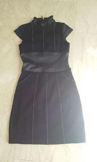 Laundry black part leather dress