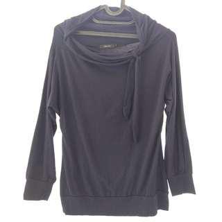 Top Dark Blue Navy Longsleeve Shirt / Baju Biru Gelap Lengan Panjang Blouse Blous Blus Long Sleeve