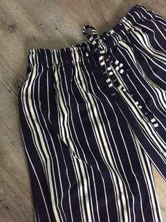 BN Mid-Length Chiffon Navy Blue & White Striped Pants