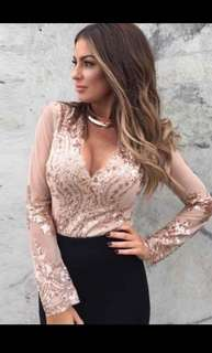 Sequin Top Rose Gold Long Sleeve