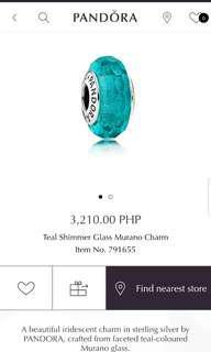 Pandora Teal Shimmer Glass Murano Charm