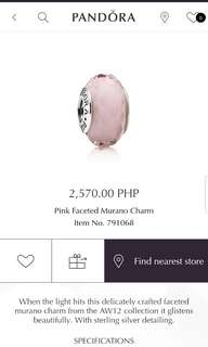 Pandora Pink Faceted Murano Charm