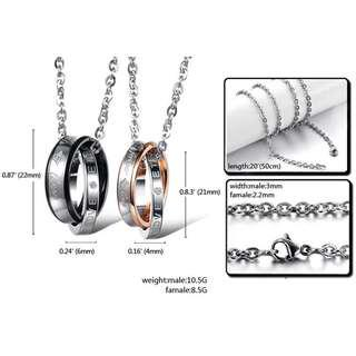 Couple SET a pair Necklace high quality stainless Steel (instock)Promotion now🔥🔥Hot SALE 🔥🔥🔥🔥