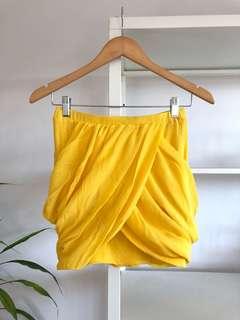 BRAND NEW Drape Wrap Yellow Mini Skirt